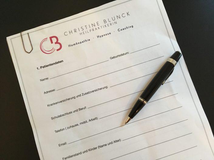 Fragebogen Praxis Christine Blunck München