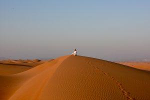 Ziele - Frau auf Düne schaut in die Ferne